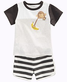 First Impressions Baby Boys Monkey T-Shirt & Striped Shorts, Created for Macy's