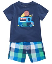 6c4336a43 First Impressions Baby Boys Cotton Ice Cream T-Shirt & Plaid Shorts,  Created for