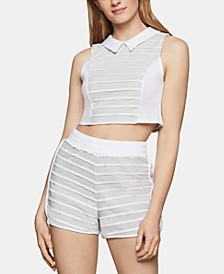 Cotton Mixed-Media Cropped Top