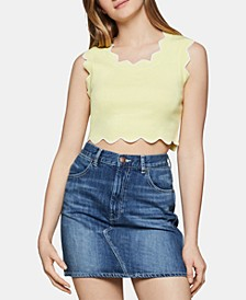 Scalloped-Edge Cropped Top