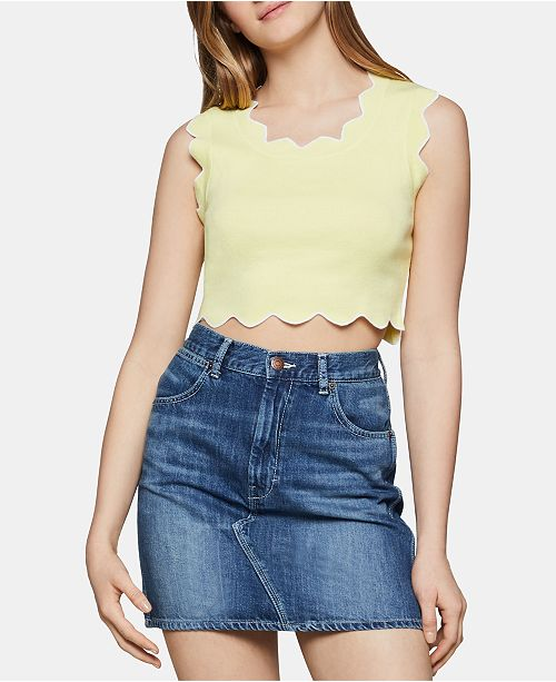BCBGeneration Scalloped-Edge Cropped Top
