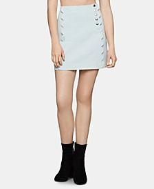Cotton Scalloped Denim Mini Skirt