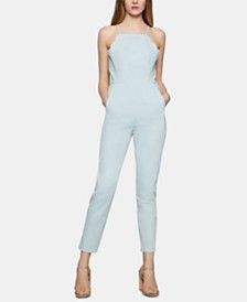 BCBGeneration Cotton Scalloped Denim Ankle Jumpsuit