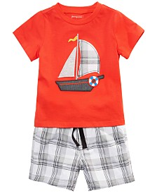 First Impressions Baby Boys Cotton Sailor T-Shirt & Plaid Shorts, Created for Macy's