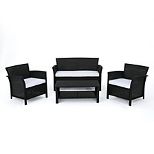 St. Lucia Outdoor 4pc Seating Set, Quick Ship