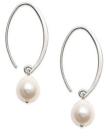 Sterling Silver Earrings, Cultured Freshwater Pearl Sweep Drop Earrings