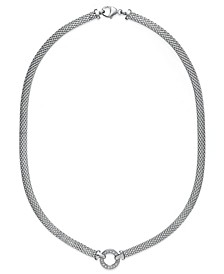 Diamond Mesh Circle Necklace (1/8 ct. t.w.) in Sterling Silver
