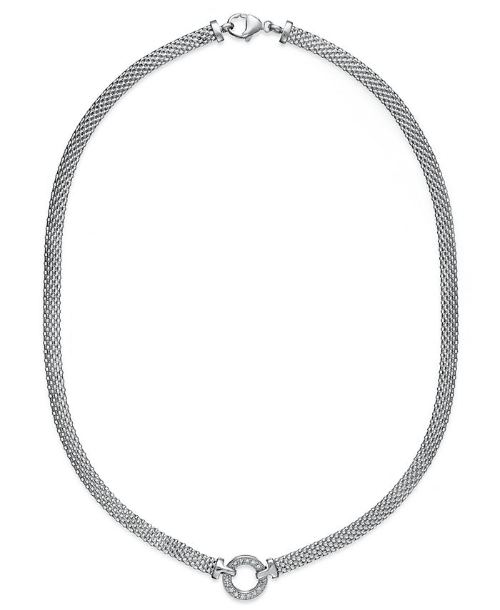 Macy's - Diamond Mesh Circle Necklace (1/8 ct. t.w.) in Sterling Silver