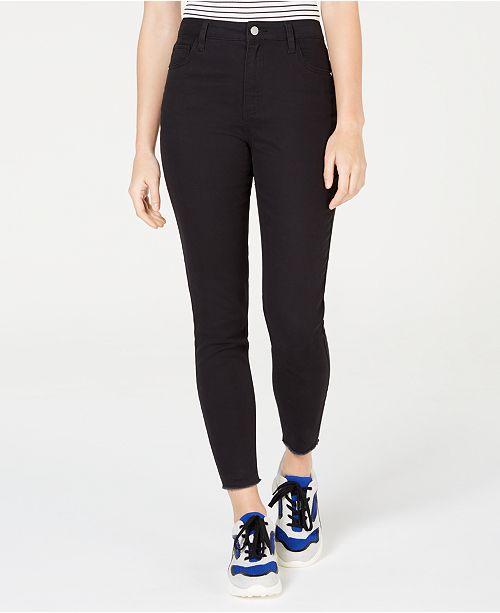 Tinseltown Juniors' Colored High-Rise Raw-Hem Skinny Jeans