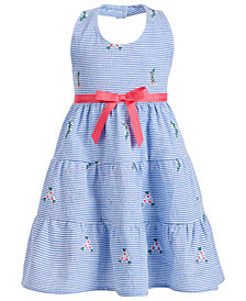 Blueberi Boulevard Toddler Girls Halter-Style Seersucker Dress