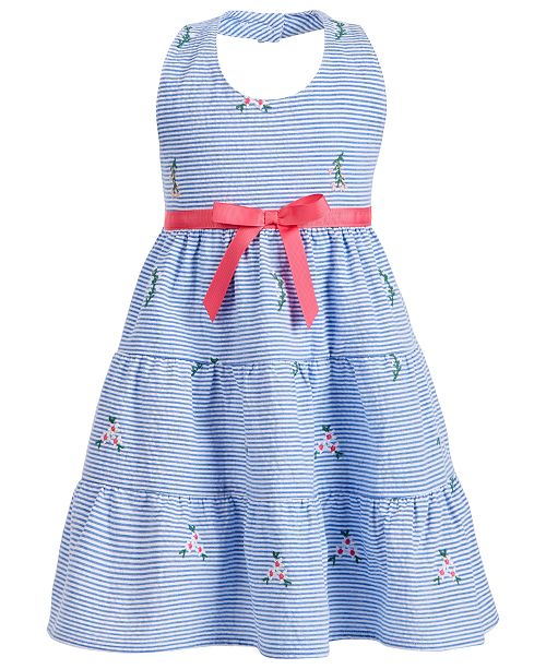 Blueberi Boulevard Little Girls Halter-Style Seersucker Dress
