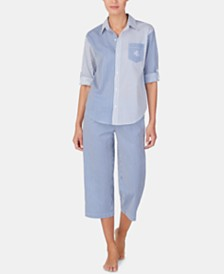 Lauren Ralph Lauren Petite Mixed-Stripe Top and Capri Pants Cotton Pajama Set
