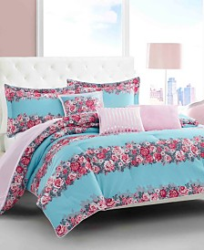 Betsey Johnson Banded Floral Full/Queen Comforter Set