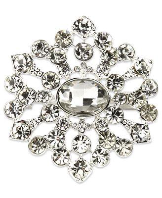 Jones New York Brooch, Silver-Tone Crystal Flower Pin Box
