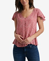 8988484dc6fc15 Lucky Brand Smocked Short Sleeve Top