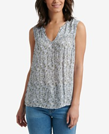 Lucky Brand Sleeveless Ditsy Print Split-Neck Top