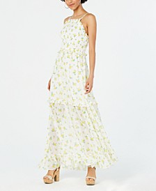 Ruffled Floral-Print Maxi Dress