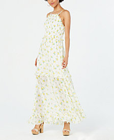 Betsey Johnson Ruffled Floral-Print Maxi Dress