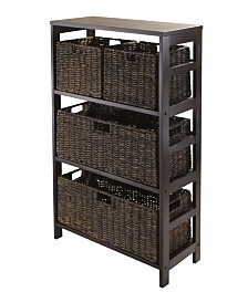 Winsome Granville 5Pc Storage Shelf with 2 Large and 2 Small Foldable Baskets