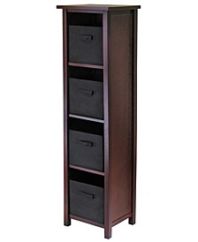 Verona 4-Section N Storage Shelf with 4 Foldable Black Color Fabric Baskets