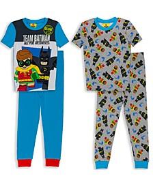 Lego Batman Boys 4-10 4 Piece Cotton Pajama Set