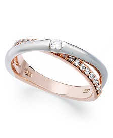 Sterling Silver and 14k Rose Gold Ring, Cubic Zirconia Overlap Ring (1/6 ct. t.w.)