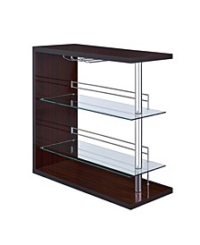 Alfeo Rectangular 2-Shelf Bar Unit with Wine Holder