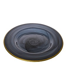 """Classic Touch Set of 4 Black Alabaster 11"""" Dinner Plates with Gold"""