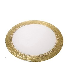 Set of 4 Clear Chargers with Gold Rim
