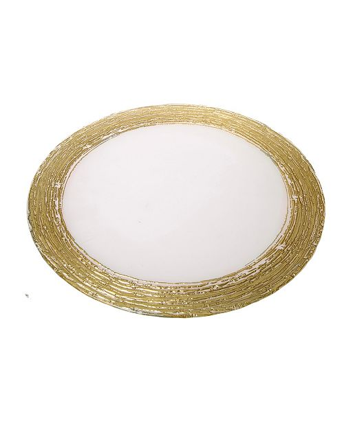 Classic Touch Set of 4 Clear Chargers with Gold Rim