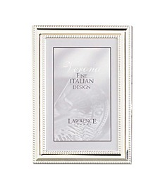 """Metal Picture Frame Silver-Plate with Delicate Beading - 5"""" x 7"""""""
