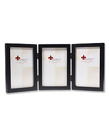 """Lawrence Frames Hinged Triple Black Wood Picture Frame - Gallery Collection - 4"""" x 6"""""""