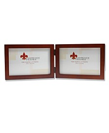 "Hinged Double Walnut Wood Picture Frame - Gallery Collection - 4"" x 6"""
