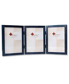 """Hinged Triple Blue Wood Picture Frame - Gallery Collection - 5"""" x 7"""""""