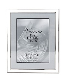 """Silver Plated Metal with White Enamel Picture Frame - 8"""" x 10"""""""