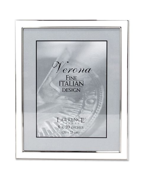 """Lawrence Frames Silver Plated Metal with White Enamel Picture Frame - 8"""" x 10"""""""