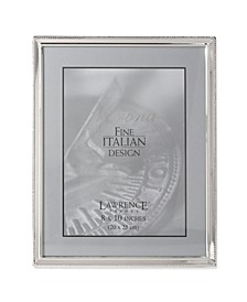"Polished Silver Plate Picture Frame - Bead Border Design - 8"" x 10"""