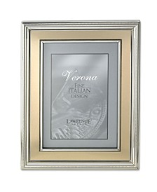 """Silver Plated Metal Picture Frame - Brushed Gold Inner Panel - 8"""" x 10"""""""