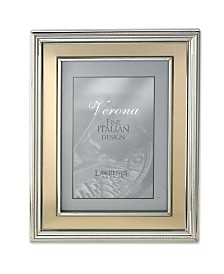 "Lawrence Frames Silver Plated Metal Picture Frame - Brushed Gold Inner Panel - 8"" x 10"""