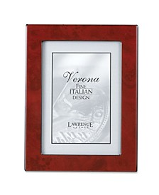"""Burgundy Faux Burl Picture Frame - Polished Lustrous Finish with Sides Finished In Black - 4"""" x 6"""""""