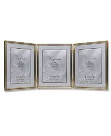 "Lawrence Frames Antique Gold Bead Hinged Triple Picture Frame - 8"" x 10"""