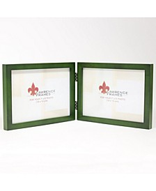 "Hinged Double Green Wood Picture Frame - Gallery Collection - 5"" x 7"""