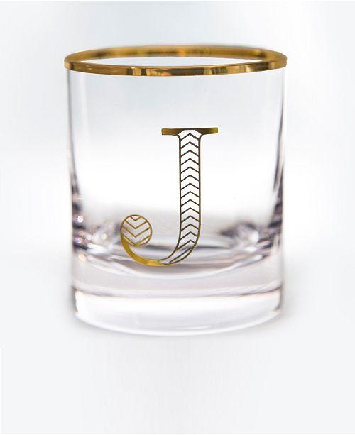 Qualia Glass Monogram Rim and Letter J Double Old Fashioned Glasses, Set Of 4