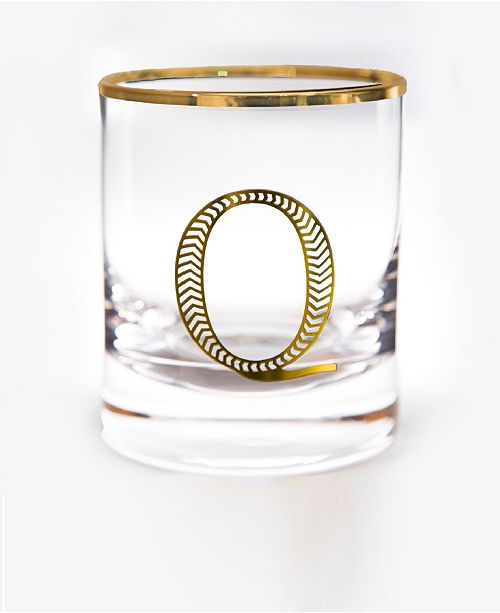Qualia Glass Monogram Rim and Letter Q Double Old Fashioned Glasses, Set Of 4