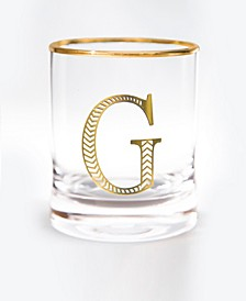 Monogram Rim and Letter G Double Old Fashioned Glasses, Set Of 4