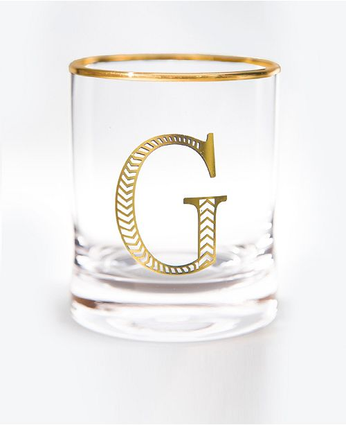 Qualia Glass Monogram Rim and Letter G Double Old Fashioned Glasses, Set Of 4