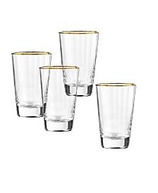 Qualia Glass Dominion Gold Highball Glasses, Set Of 4