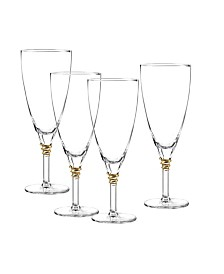 Qualia Glass Helix Gold Iced Tea Glasses, Set Of 4