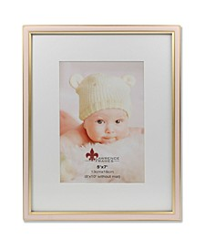 "Matted Pink Enamel and Satin Gold Metal Picture Frame - 8"" x 10"" without Mat - 5"" x 7"""