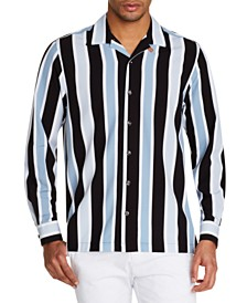 Tallia Men's Slim-Fit Performance Stretch Multi Stripe Long Sleeve Camp Shirt